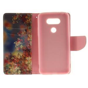 Obrázkové koženkové puzdro pre LG G5 - maľované listí - 7