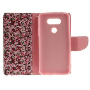 Obrázkové koženkové puzdro pre LG G5 - růže - 7