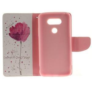 Obrázkové koženkové puzdro pre LG G5 - mak - 7
