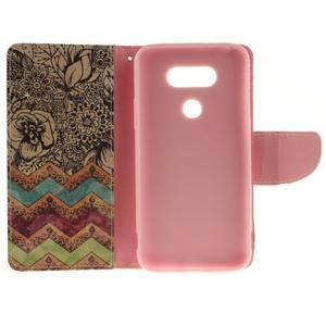 Obrázkové koženkové puzdro pre LG G5 - maľované kvetiny - 7