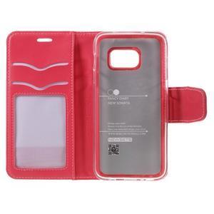Rich PU kožené peňaženkové puzdro pre Samsung Galaxy S7 - rose - 7