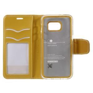 Rich PU kožené peněženkové pouzdro na Samsung Galaxy S7 - žluté - 7