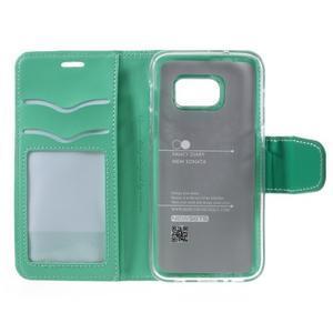 Rich PU kožené peňaženkové puzdro pre Samsung Galaxy S7 - azúrové - 7