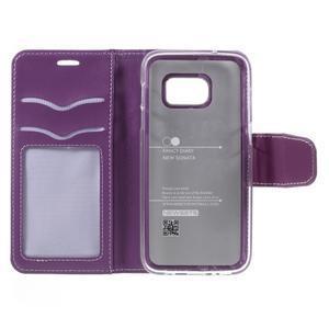 Rich PU kožené peňaženkové puzdro pre Samsung Galaxy S7 - fialové - 7