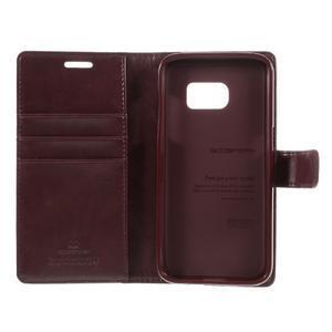 Moon PU kožené puzdro pre mobil Samsung Galaxy S7 - tmavočervené - 7