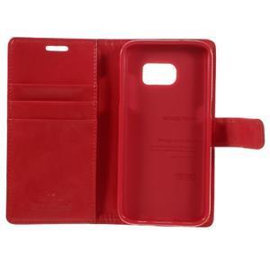 Moon PU kožené puzdro pre mobil Samsung Galaxy S7 - červené - 7