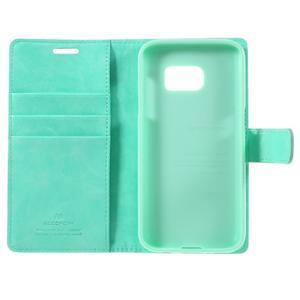 Moon PU kožené puzdro pre mobil Samsung Galaxy S7 - azurové - 7