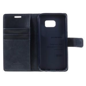 Moon PU kožené puzdro pre mobil Samsung Galaxy S7 - tmavomodré - 7