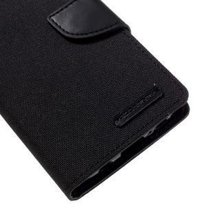 Canvas PU kožené/textilní puzdro pre Samsung Galaxy S7 - čierne - 7