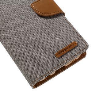 Canvas PU kožené/textilní puzdro pre Samsung Galaxy S7 - šedé - 7