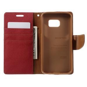 Canvas PU kožené/textilní puzdro pre Samsung Galaxy S7 - červené - 7