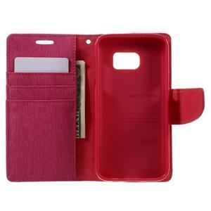 Canvas PU kožené/textilní puzdro pre Samsung Galaxy S7 - rose - 7