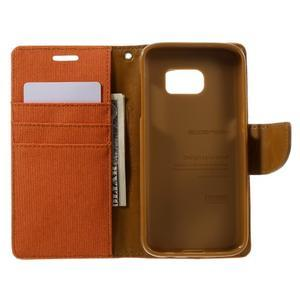 Canvas PU kožené/textilní puzdro pre Samsung Galaxy S7 - oranžové - 7