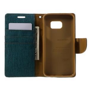 Canvas PU kožené/textilní puzdro pre Samsung Galaxy S7 - zelené - 7