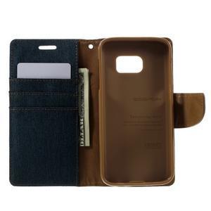 Canvas PU kožené/textilní puzdro pre Samsung Galaxy S7 - modré - 7