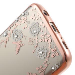 Nice gelový obal s kamínky na Samsung Galaxy S7 - bílé květiny - 7