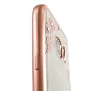 Nice gélový obal s kamínky pre Samsung Galaxy S7 - ružové kvetiny - 7