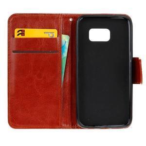 Stand peňaženkové puzdro pre Samsung Galaxy S7 - hnedé - 7