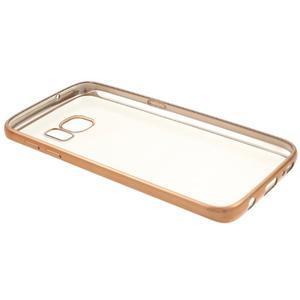 Gelový obal se zlatým rámom pre Samsung Galaxy S7 - 7