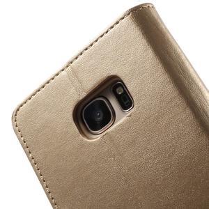 Sonata PU kožené pouzdro na Samsung Galaxy S7 - zlaté - 7