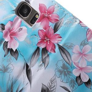 Flower pouzdro na mobil Samsung Galaxy S7 - modré pozadí - 7