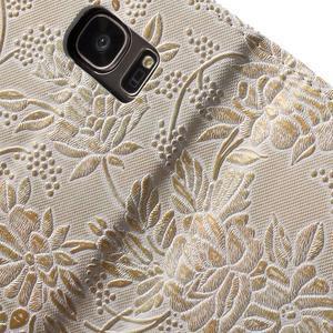 Kvetinové peňaženkové puzdro pre Samsung Galaxy S7 - béžovobiele - 7