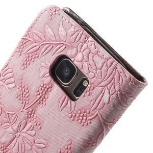 Kvetinové peňaženkové puzdro pre Samsung Galaxy S7 - ružové - 7