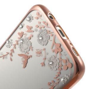 Nice gelový obal s kamínky na Samsung Galaxy S7 edge - bílé květiny - 7