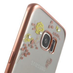 Nice gélový obal s kamienkami pre Samsung Galaxy S7 edge - žlté kvety - 7