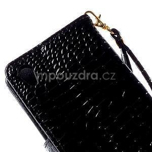 Černé PU kožené pouzdro aligátor pro Sony Xperia M4 Aqua - 7
