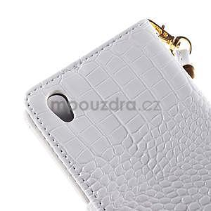 biele PU kožené puzdro aligátor pre Sony Xperia M4 Aqua - 7