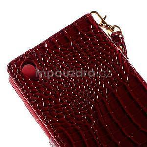 Tmavě červené PU kožené pouzdro aligátor pro Sony Xperia M4 Aqua - 7