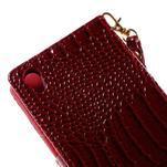 Tmavě červené PU kožené pouzdro aligátor pro Sony Xperia M4 Aqua - 7/7