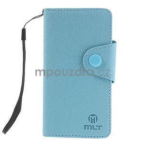 Peněženkové PU kožené pouzdro na Sony Xperia Z1 Compact - modré - 7