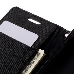 Canvas PU kožené/textilné puzdro pre Sony Xperia Z5 - čierne - 7