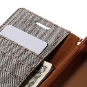 Canvas PU kožené/textilné puzdro pre Sony Xperia Z5 - sivé - 7