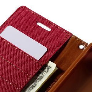Canvas PU kožené/textilní pouzdro na Sony Xperia Z5 - červené - 7