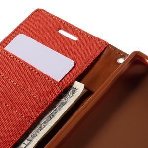 Canvas PU kožené/textilné puzdro pre Sony Xperia Z5 - oranžové - 7