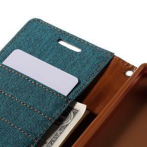 Canvas PU kožené/textilné puzdro pre Sony Xperia Z5 - zelené - 7