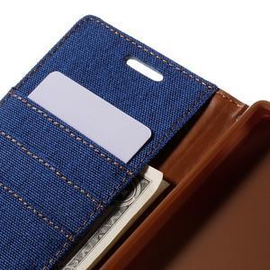 Canvas PU kožené/textilné puzdro pre Sony Xperia Z5 - modré - 7