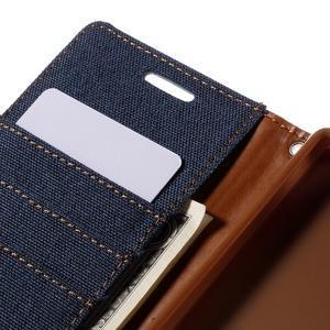 Canvas PU kožené/textilní pouzdro na Sony Xperia Z5 - tmavěmodré - 7