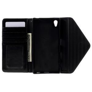 Štýlové Peňaženkové puzdro Sony Xperia Z5 - hnedé/čierne - 7
