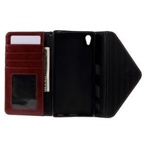 Štýlové Peňaženkové puzdro Sony Xperia Z5 - čierne/hnedé - 7