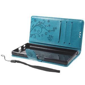 Butterfly PU kožené pouzdro na Sony Xperia Z5 - modré - 7