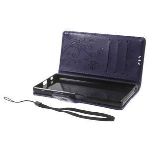 Butterfly PU kožené pouzdro na Sony Xperia Z5 - fialové - 7