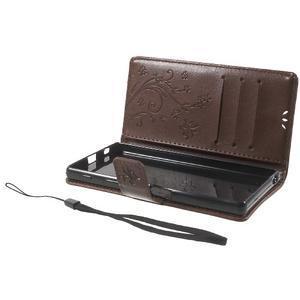 Butterfly PU kožené puzdro pre Sony Xperia Z5 - hnedé - 7