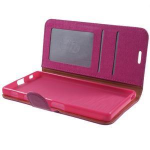 Grid PU kožené puzdro pre Sony Xperia Z5 - rose - 7