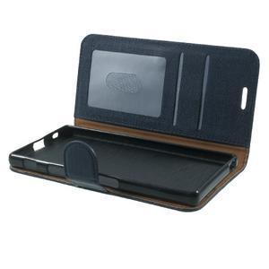 Grid PU kožené pouzdro na Sony Xperia Z5 - tmavěmodré - 7