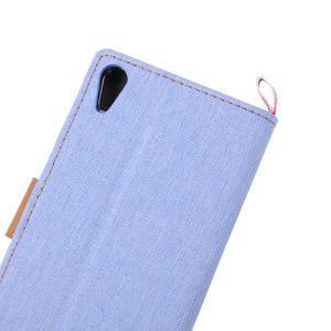 Cloth textilné/koženkové puzdro pre Sony Xperia Z5 - svetlomodré - 7