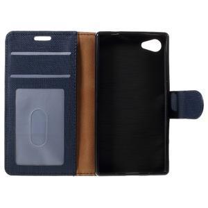 Grid Peňaženkové puzdro pre mobil Sony Xperia Z5 Compact - tmavomodré - 7